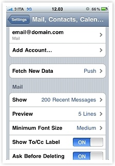 server smtp service - smtp service - Apple iPhone/iPod touch