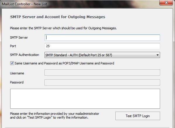 ArcLab MailList SMTP settings - smtp mail server - professional SMTP