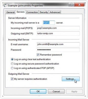 Windows Mail SMTP settings - smtp mail server - professional