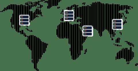 Infraestructura de servidores en todo el mundo